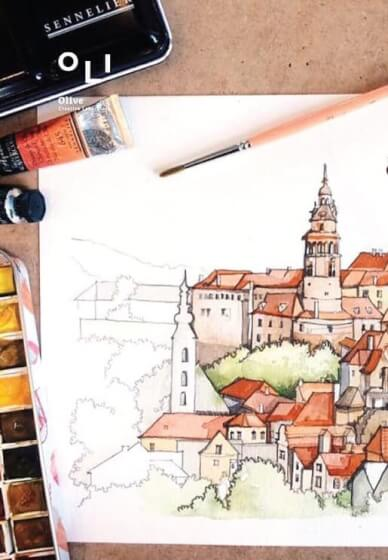 Water Color the City View